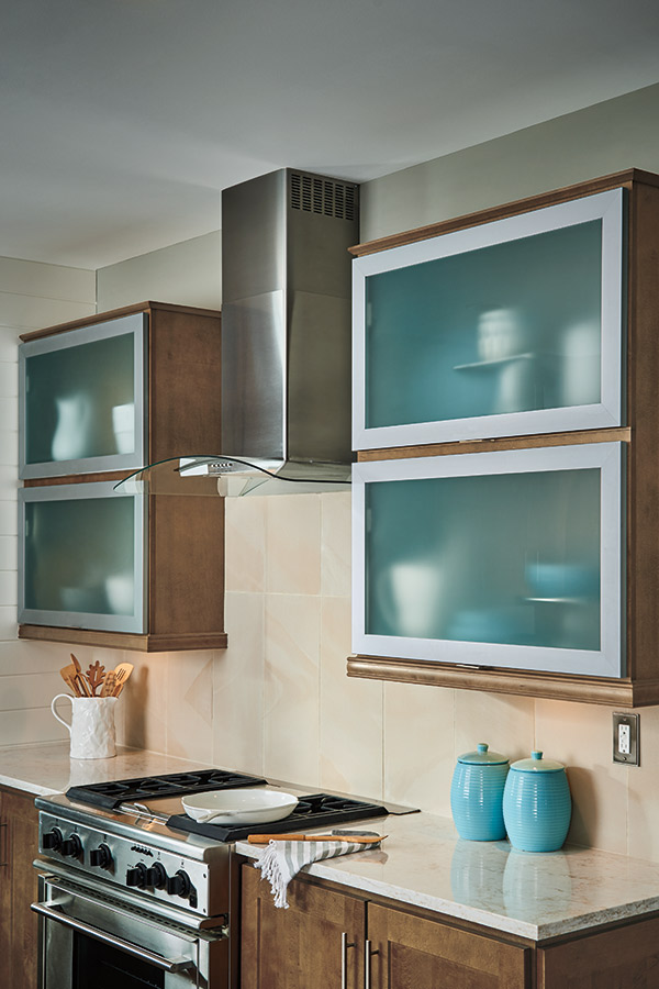 Aluminum frame cabinet doors in a kitchen